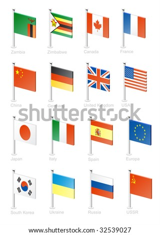 Flag icon set (part 13) Zambia, Zimbabwe, Canada, France, China, Germany, Great Britain, USA, Japan, Italy, Spain, EU, South Korea, Ukraine, Russia, USSR