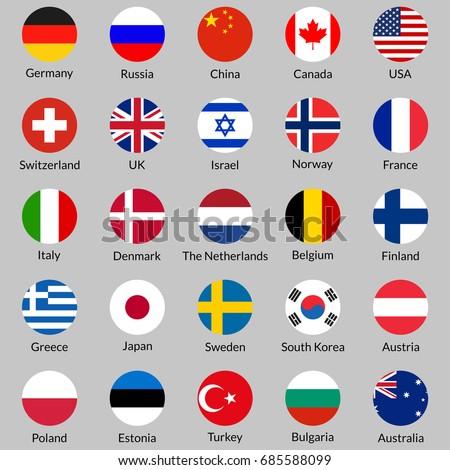 flag icon set round or circle