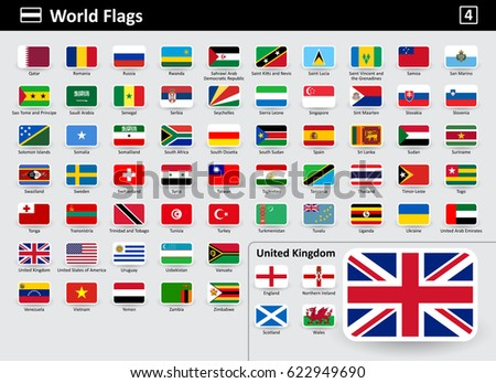 Flag icons of the world with names in alphabetical order - set 4. Flat style. Vector illustration.