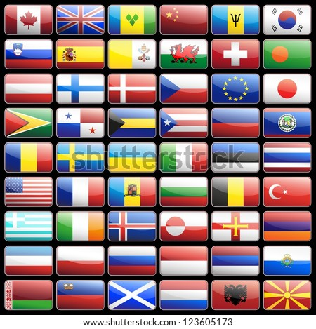 Flag icons vector design elements