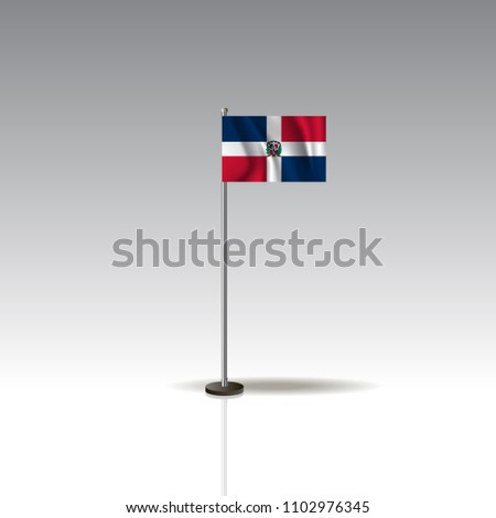 Flag Illustration of the country of DOMINICAN REPUBLIC. National DOMINICAN REPUBLIC flag isolated on gray background. Vector. EPS10 #1102976345