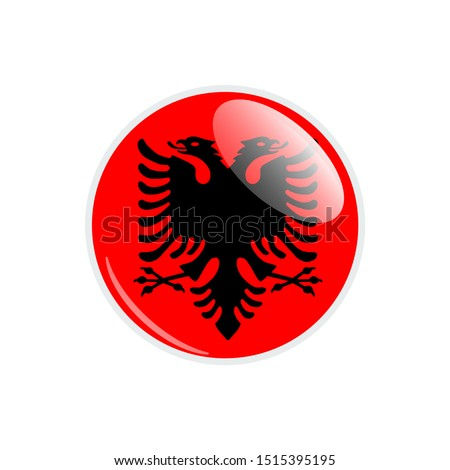 Flag Illustration Within A Circle Of The Country Of Albania. Albania Flag Circle Button. Albania glossy round button. Vector Illustration EPS 10.