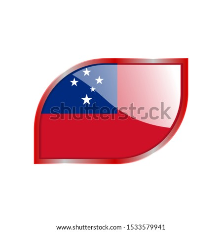 Flag Illustration Within A modern rectangle Of The Country Of Samoa. Samoa Flag glossy Button. Samoa glossy rectangle button. Vector Illustration EPS 10
