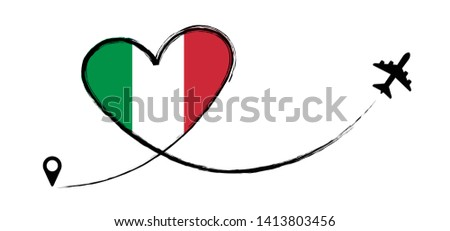Flag Italy italia italian Love Romantic travel Airplane air plane Aircraft Aeroplane flying fly jet airline line path vector fun funny pin location pointer route trace sign track vacation holliday