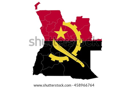 flag map angola  country on