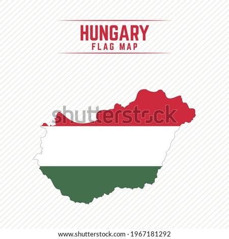 Flag Map of Hungary. Hungary Flag Map Сток-фото ©