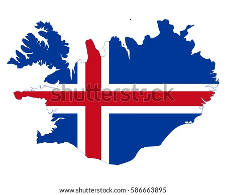 Flag map of Iceland