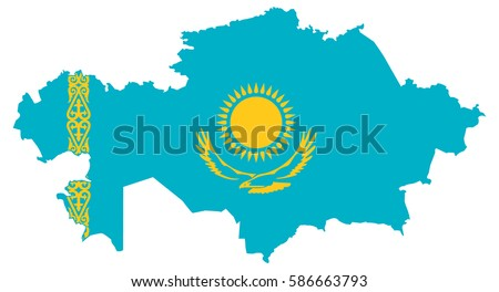 Flag map of Kazakhstan