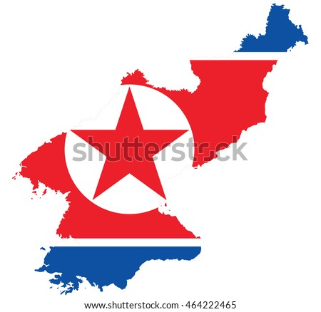 flag map of North Korea