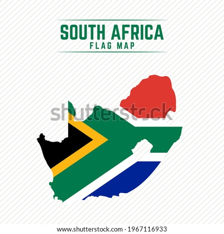 Flag Map of South Africa. South Africa Flag Map Foto stock ©