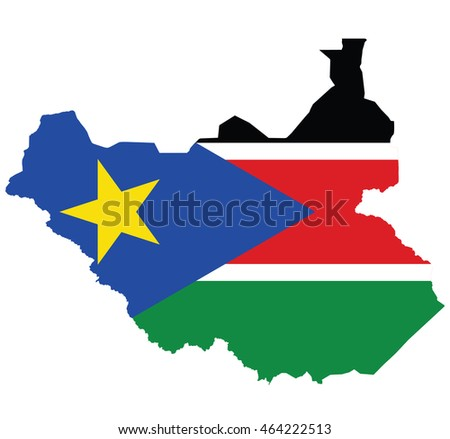 flag map of South Sudan