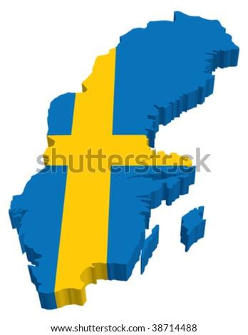 Flag Map of Sweden - stock vector