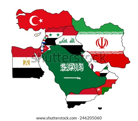 Flag map of the middle east. The middle east with each country colored in with its map.