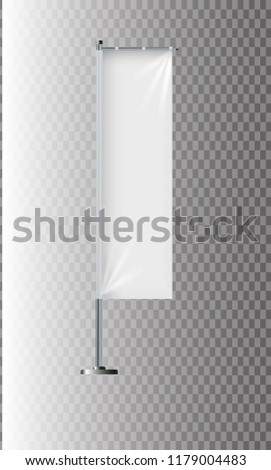 Flag mockup. Banner flag templates. Set of vector advertising flags. Black and white blank vertical flags. Realistic vector illustration. #1179004483
