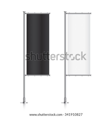 Flag mockup. Banner flag templates. Set of vector advertising flags. Black and white blank vertical flags. Realistic vector illustration. #341910827
