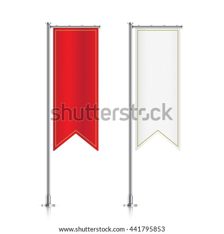 Flag mockup. Banner flag templates. Set of vector advertising flags. Red and white blank vertical flags. Realistic vector illustration.