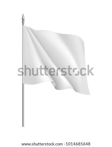 Flag mockup. Curled waving symbol streamer, template, isolated. Outdoors information ridgepole for inscriptions, slogans, mottos and so on. Vector illustration of flag #1014685648