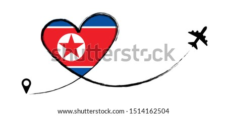 Flag North Korea Koreans Korean Love Romantic travel Airplane air plane Aircraft Aeroplane flying fly jet airline line vector fun funny pin location pointer route trace sign track vacation holliday