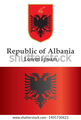 Flag of Albania, Republic of Albania. Template for award design, an official document with the flag of Albania. Bright, colorful vector illustration.