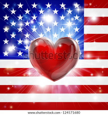 Flag of America patriotic background with pyrotechnic or light burst and love heart in the centre