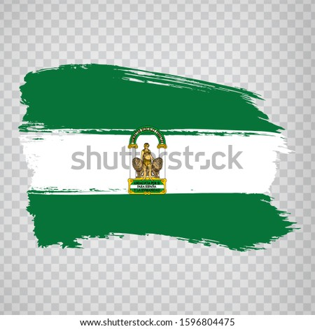 Flag of Andalusia brush strokes. Flag Autonomous Community Andalusia and Leon on transparent background for your web site design, logo, app, UI. Kingdom of Spain. Stock vector.  EPS10. Stock fotó ©