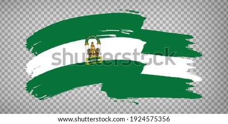 Flag of Andalusia brush strokes. Flag Autonomous Community Andalusia and Leon on transparent background for your web site design, app, UI. Kingdom of Spain. Stock vector.  EPS10. Stock fotó ©
