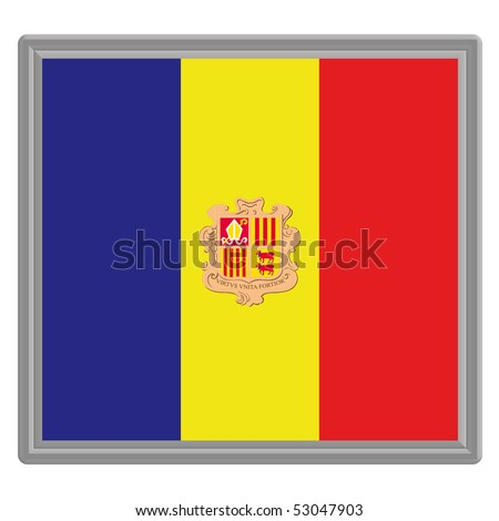Flag of Andorra with silver frame