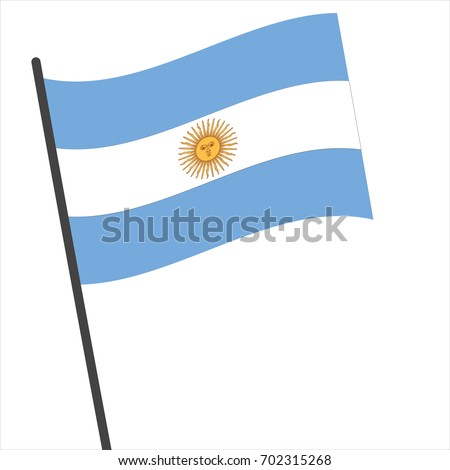 Flag of argentina , argentina flag waving isolated vector illustration