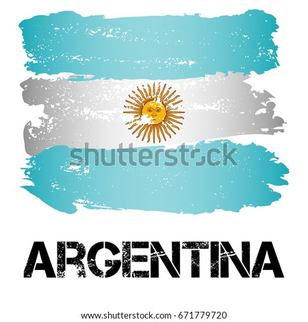 Flag of Argentina from brush strokes in grunge style isolated on white background. Country in South America. Latin America. Vector illustration