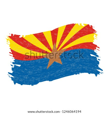 Flag of Arizona. Grunge Abstract Brush Stroke Isolated On A White Background. Vector Illustration. National Flag In Grungy Style. Use For Brochures, Printed Materials, Logos, Independence Day