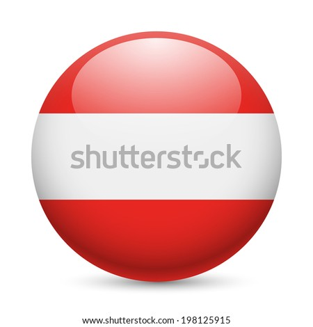 flag of austria as round glossy