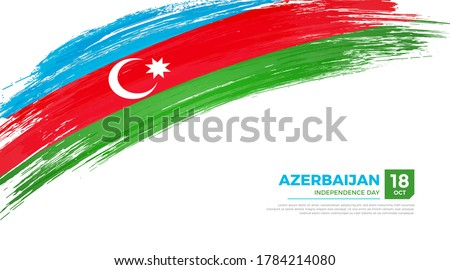 Flag of Azerbaijan country. Happy Independence day of Azerbaijan background with grunge brush flag illustration