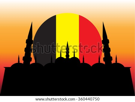 flag of belgium on the sunset
