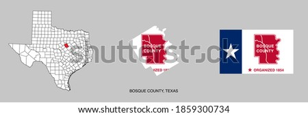 Flag of Bosque County, Texas, USA. Bosque County map in Texas state. Foto stock ©