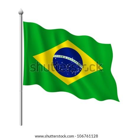 Flag of Brazil, vector illustration
