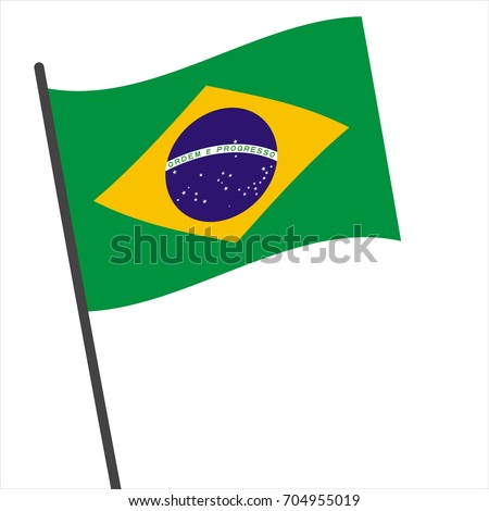 Flag of Brazilian , Brazilian flag waving isolated vector illustration