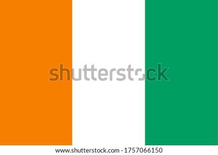 Flag of Côte d'Ivoire, National Republic of Côte d'Ivoire flag, The capital city is Yamoussoukro. Photo stock ©