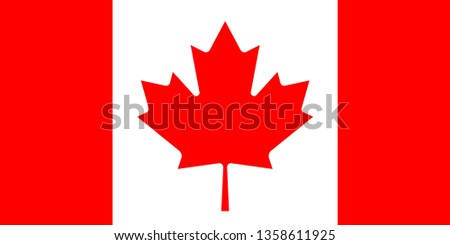 Flag of Canada is a country in the northern part of North America. Vector illustration