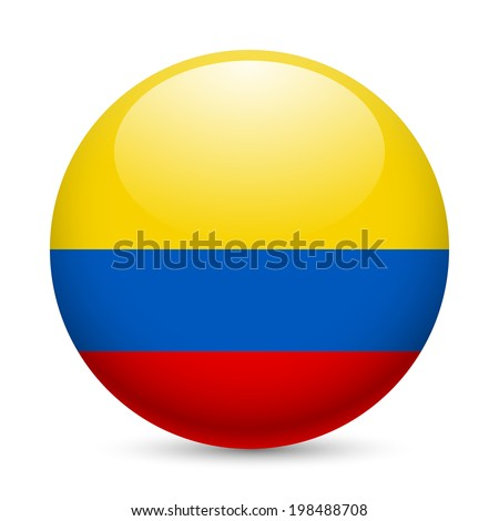 Flag of Colombia as round glossy icon. Button with Colombian flag Stock photo ©