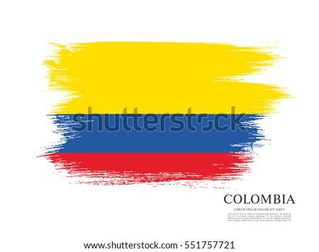 Flag of Colombia, brush stroke background Stock photo ©