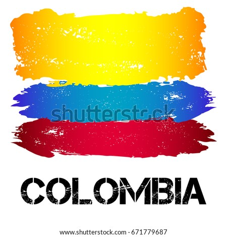 Flag of Colombia from brush strokes in grunge style isolated on white background. Country in South America. Latin America. Vector illustration
