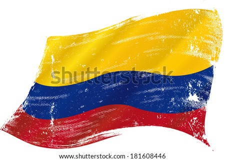 flag of  Colombia in the wind with a texture