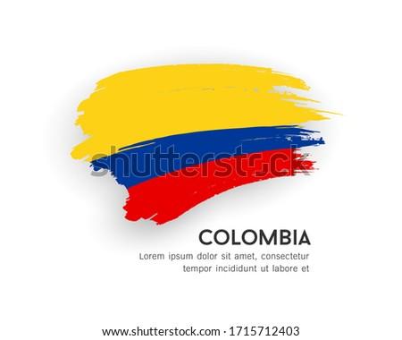 Flag of Colombia vector brush stroke design isolated on white background, illustration Stock fotó ©