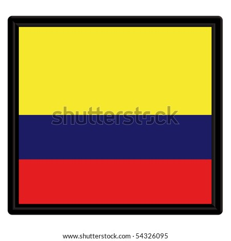 Flag of Colombia with black frame - stock vector