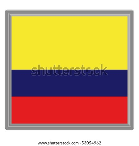Flag of Colombia with silver frame
