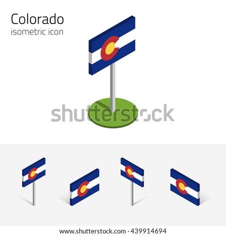Flag Of Colorado (State Of Colorado, Usa), Vector Set Of Isometric ...