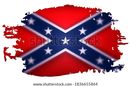 Flag of Confederate, America. 3d realistic vector illustration isolated on white background. Stereoscopic effect. Texture smear. Foto stock ©