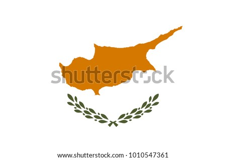 Flag of Cyprus officially the Republic of Cyprus  is island country in the Eastern Mediterranean Sea. Vector illustration