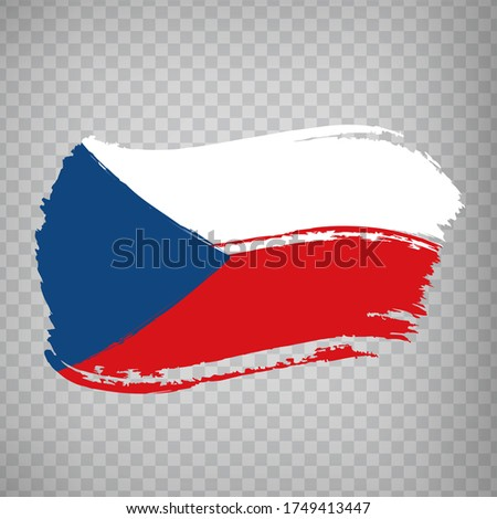 Flag of Czech Republic from brush strokes.  Flag  Czech Republic  on  transparent background for your web site design, app, UI. Stock vector. Vector illustration EPS10 Foto stock ©