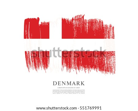 Flag of Denmark, brush stroke background #551769991